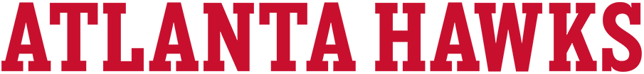 Atlanta Hawks Logo Wordmark Logo (2020/21-Pres) - For the 2020-21 NBA season, the Atlanta Hawks updated the fonts used throughout their entire set including a change to their official wordmark logos. This version shows the new block-style serifed typeface laid out horizontally in red. SportsLogos.Net