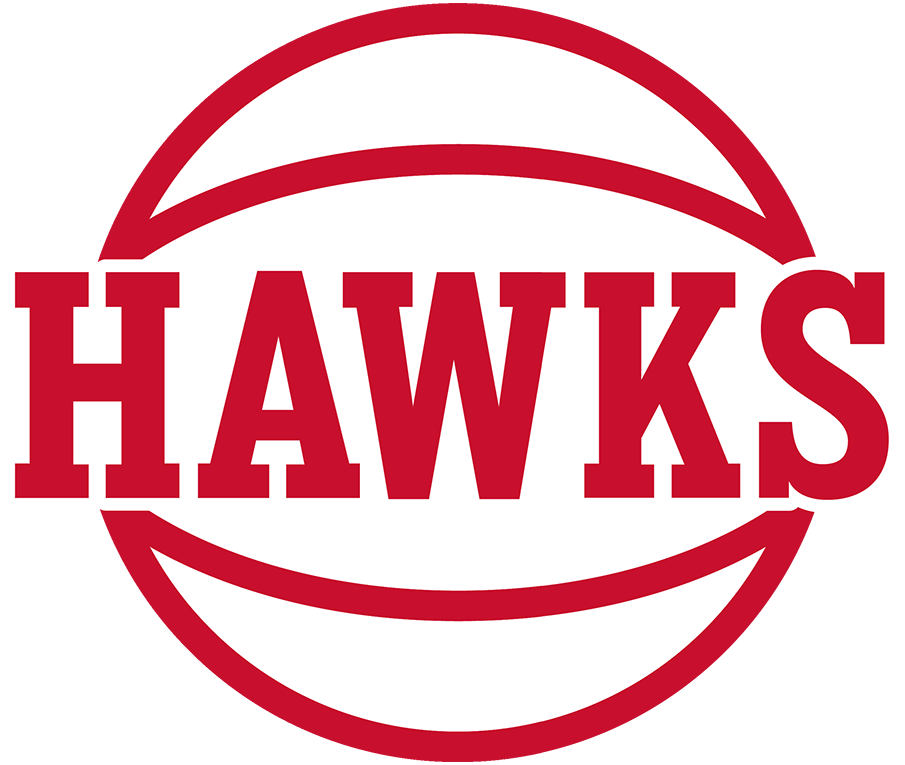 Atlanta Hawks Logo Alternate Logo (2020/21-Pres) - The Atlanta Hawks introduced this new alternate (or secondary) logo for the 2020-21 NBA season, it shows HAWKS in large red lettering on a red and white basketball SportsLogos.Net