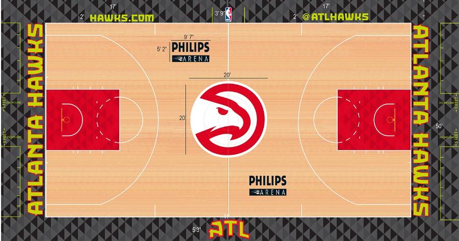 Atlanta Hawks Playing Surface Playing Surface (2015/16-2017/18) -  SportsLogos.Net
