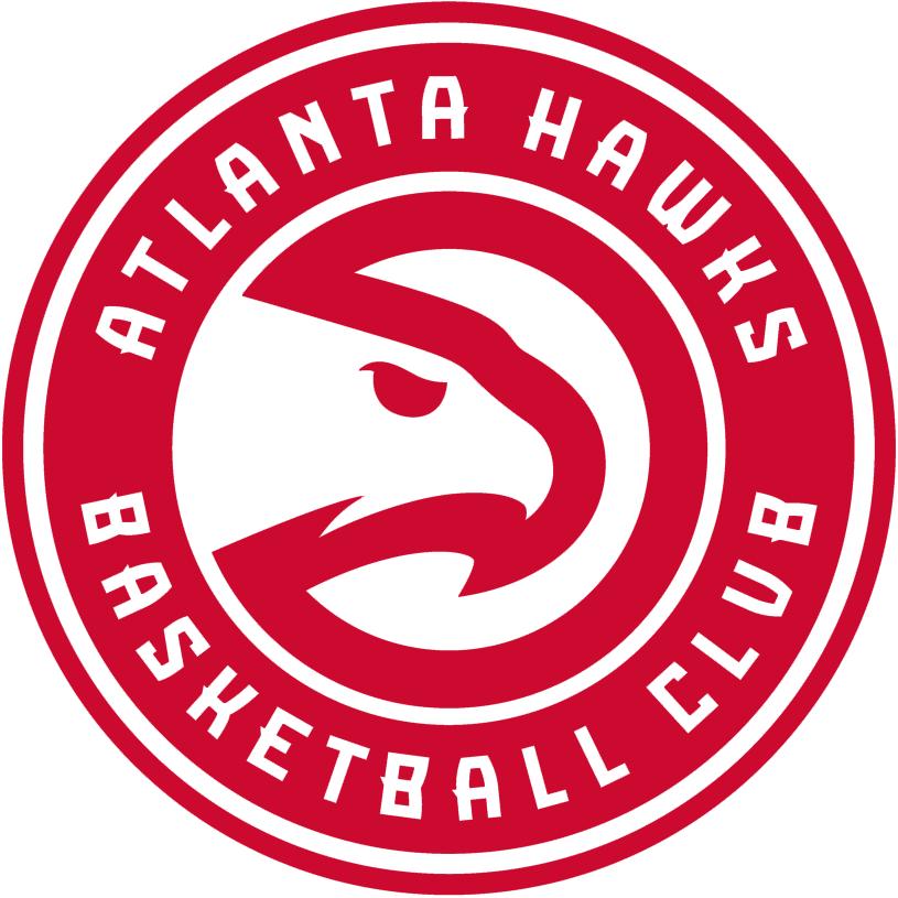 Atlanta Hawks Logo Primary Logo (2015/16-2019/20) - Modernized 'Pac-Hawk' logo inside a red roundel, ATLANTA HAWKS BASKETBALL CLUB arched around in white SportsLogos.Net