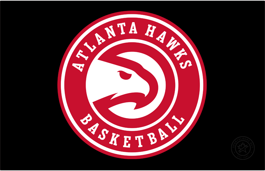 Atlanta Hawks Logo Primary Dark Logo (2020/21-Pres) - A slight update to the Atlanta Hawks Global Icon logo, shown here on a black background, for the 2020-21 NBA season, the team updated the font used for the wording in the roundel and also removed the word