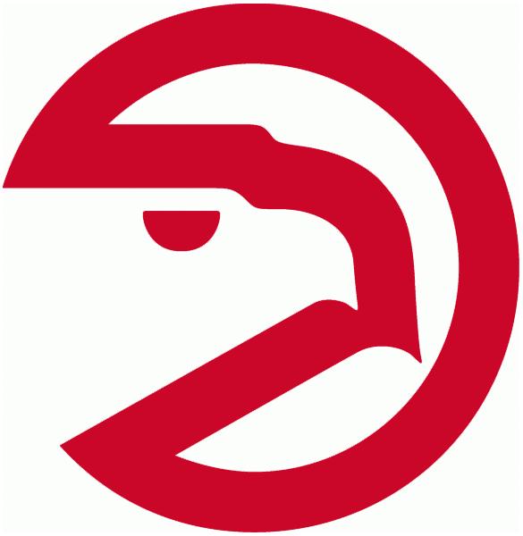 Atlanta Hawks Logo Alternate Logo (1972/73-1994/95) - A red circle with a hawks head above script SportsLogos.Net