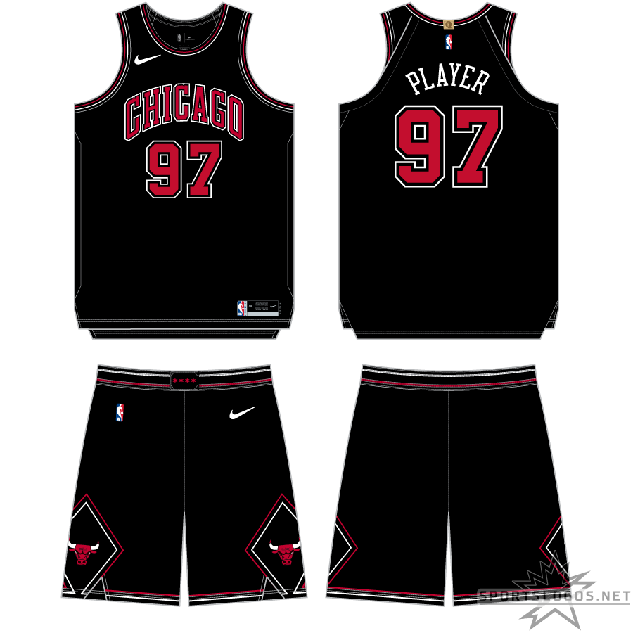 Chicago Bulls Uniform Alternate Uniform (2017/18-2019/20) - In 2017-18 the Chicago Bulls Statement Edition uniform was all black with CHICAGO arched across the front in red with black and white trim. Black diamonds on either side of the black shorts with the primary Bulls logo within them. SportsLogos.Net