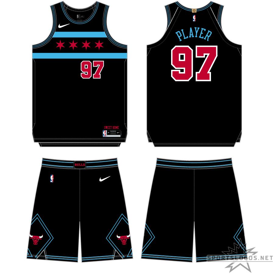 Chicago Bulls Uniform Alternate Uniform (2018/19) - Continuing the theme of honouring the Chicago City flag, the Chicago Bulls second