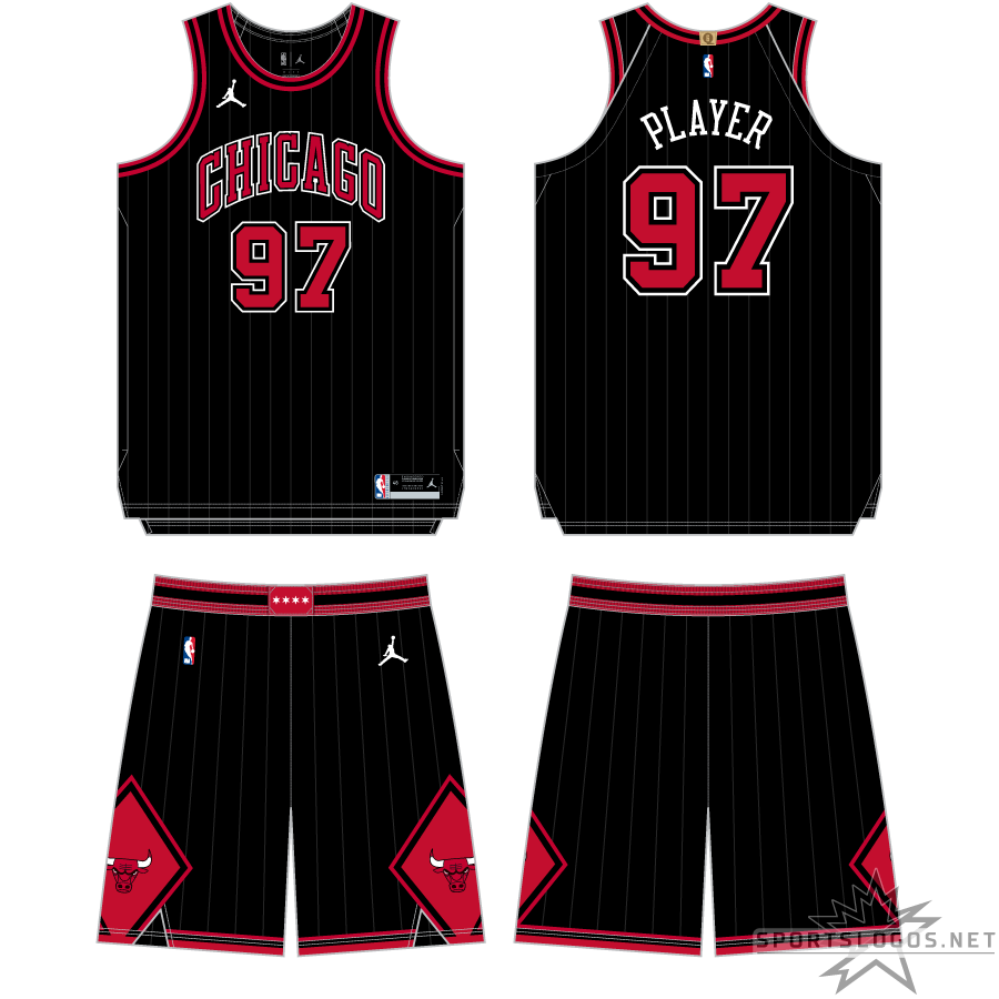 Chicago Bulls Uniform Alternate Uniform (2020/21-Pres) - In 2020-21, the Chicago Bulls made some minor changes to their Statement Edition uniform, extra red trim was added around the neck and arms, faint pinstripes now appeared on the background of the uniform, and the diamonds on either side of the shorts were made red. SportsLogos.Net