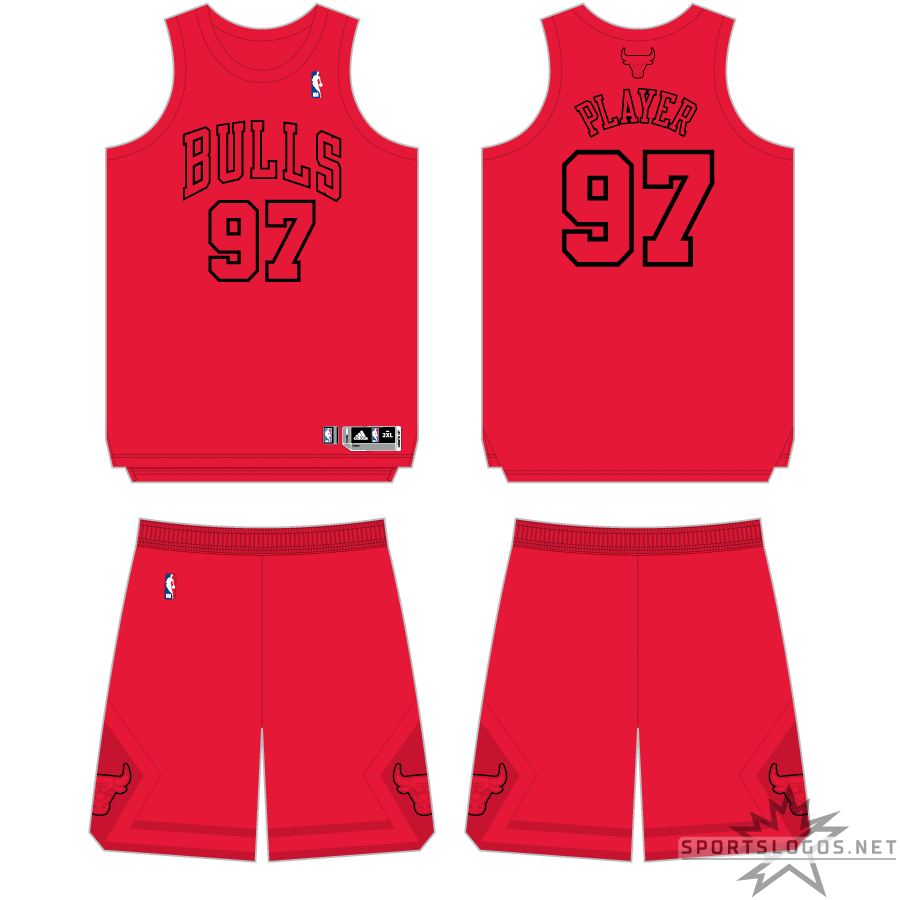 Chicago Bulls Uniform Holiday Uniform (2011/12) - As part of the NBA's Christmas Day telecasts, all partipating teams wore special, colourful uniforms for games played on December 25th. The Chicago Bulls Christmas uniform was all red with the team name and player numbers only identifiable by the black trim surrounding it. SportsLogos.Net