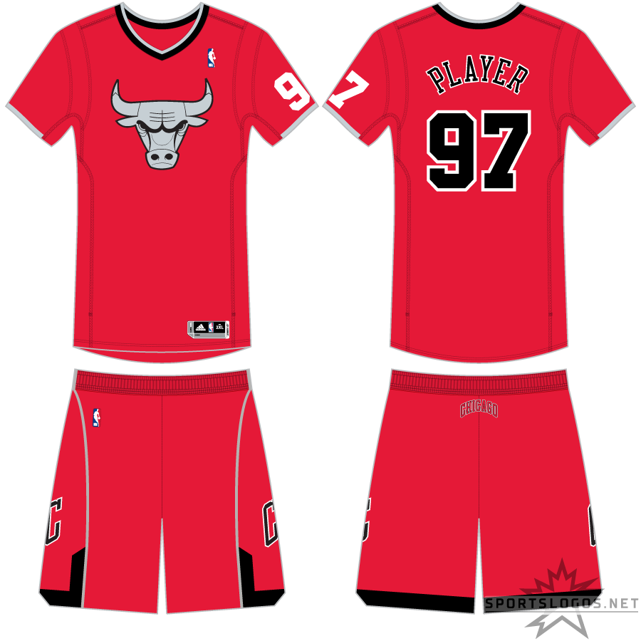 Chicago Bulls Uniform Holiday Uniform (2012/13) - As part of the NBA's Christmas Day telecasts, all partipating teams wore special uniforms for games played on December 25th. The Chicago Bulls Christmas uniform was red with sleeves (and a player number on the left sleeve), the Bulls logo in silver and black on the front of the jersey, and player name and number in black on the back. SportsLogos.Net