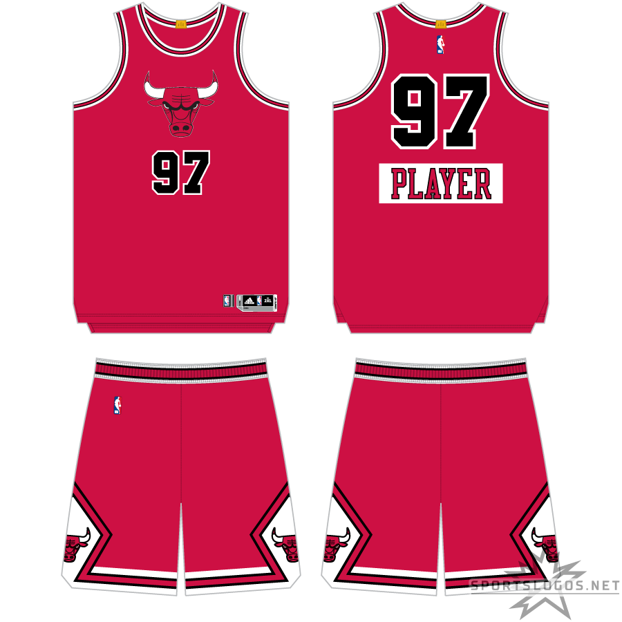 Chicago Bulls Uniform Holiday Uniform (2013/14) - As part of the NBA's Christmas Day telecasts, all partipating teams wore special uniforms for games played on December 25th. The Chicago Bulls Christmas uniform was their usual red uniform template but with the team name replaced with the Bulls primary logo on the chest, on the back the player name was moved below the number and placed on a white rectangle. SportsLogos.Net