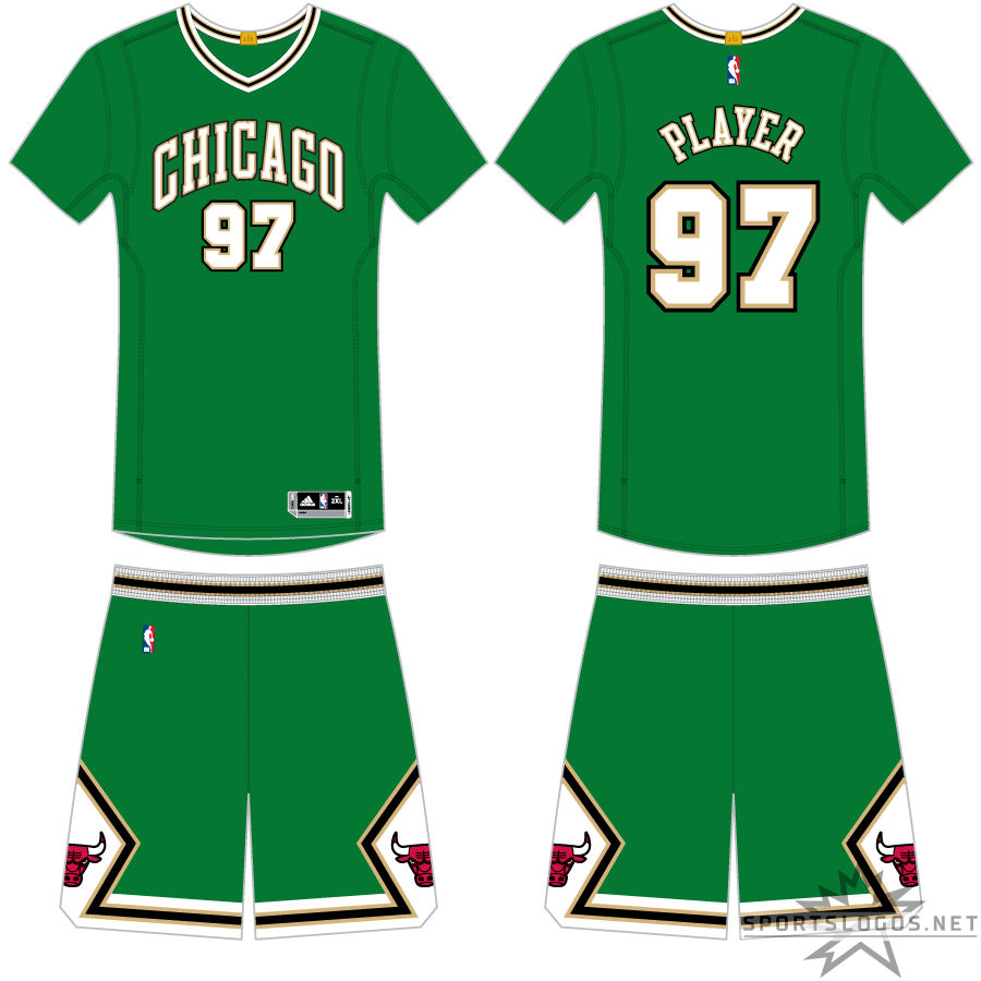 Chicago Bulls Uniform Holiday Uniform (2014/15) - Worn to celebrate St. Patrick's Day, the Chicago Bulls donned these green, sleeved uniforms with CHICAGO arched across in white and black SportsLogos.Net