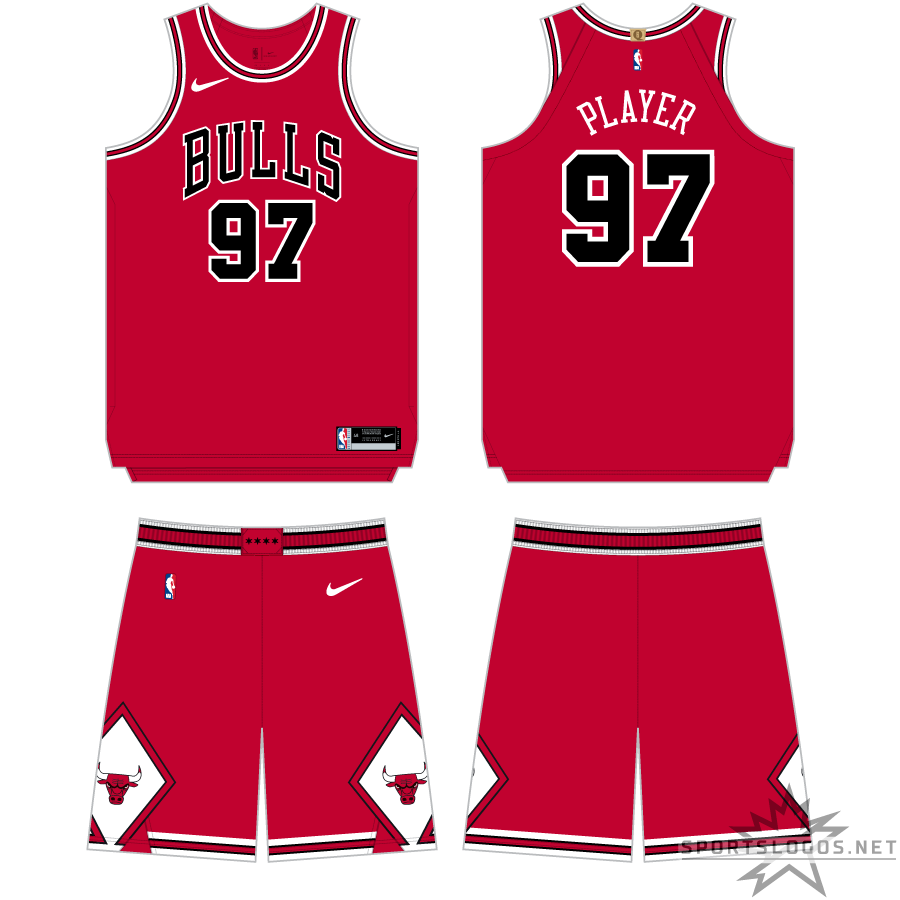 Chicago Bulls Uniform Primary Dark Uniform (2017/18-Pres) - The NBA's switch to Nike as official uniform supplier resulted in minimal change to the Chicago Bulls uniform, the Nike swoosh was added to the upper right corner of the jersey and onto the shorts, but the overall design - a red uniform with BULLS arched across in black and white and white diamonds on the shorts - remained the same. Officially referred to as the Chicago Bulls Icon Edition uniform SportsLogos.Net