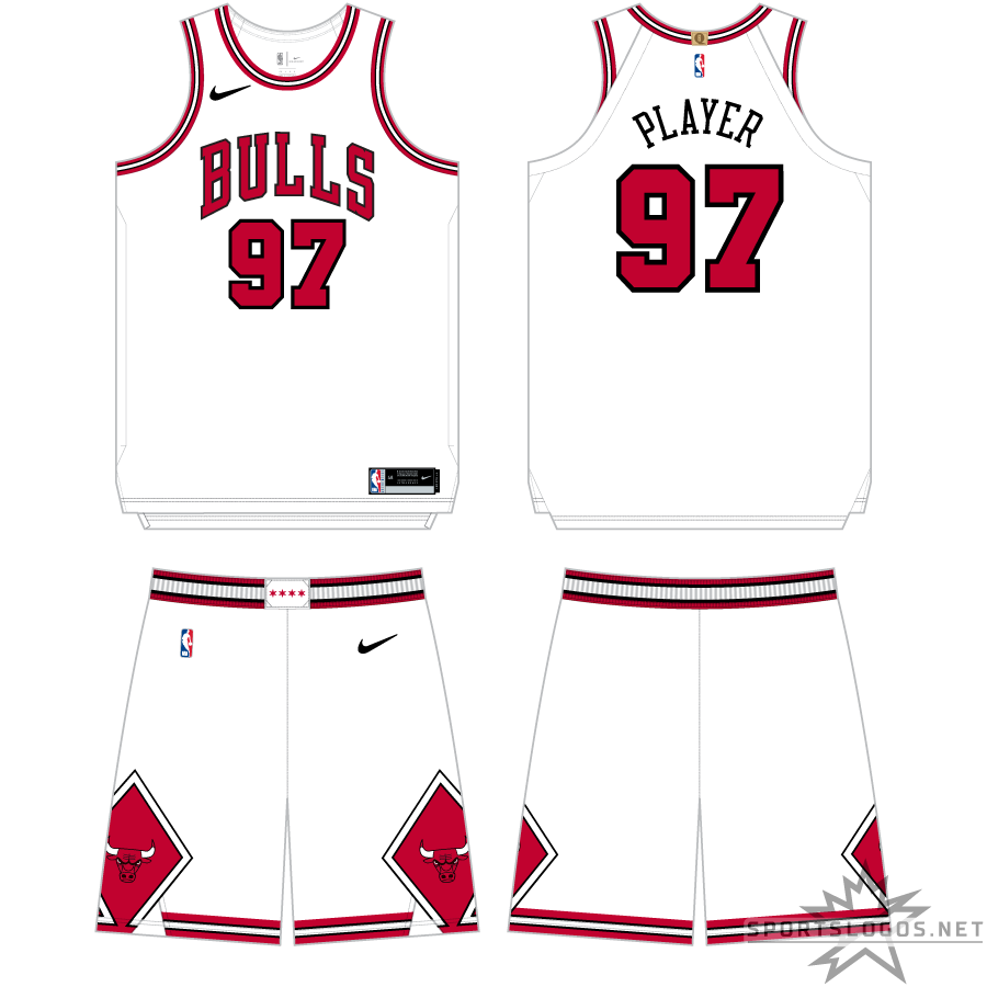Chicago Bulls Uniform Primary White Uniform (2017/18-Pres) - The NBA's switch to Nike as official uniform supplier resulted in minimal change to the Chicago Bulls uniform, the Nike swoosh was added to the upper right corner of the jersey and onto the shorts, but the overall design - a white uniform with BULLS arched across in red and black and diamonds on the shorts - remained the same. SportsLogos.Net
