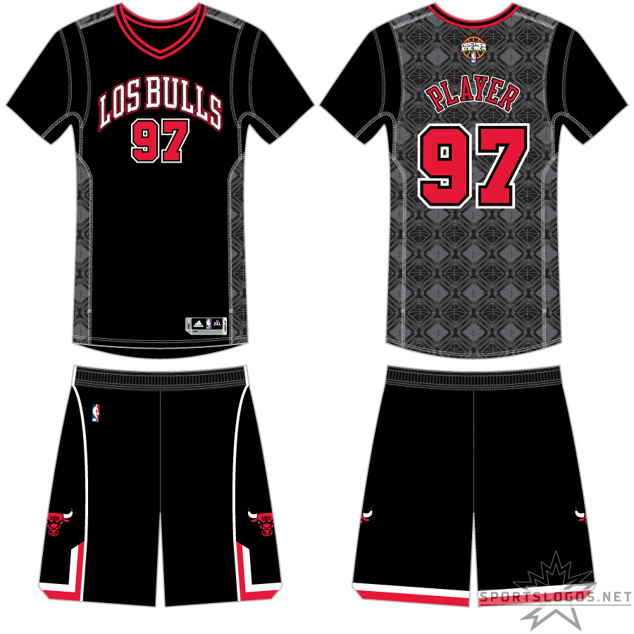 Chicago Bulls Uniform Special Event Uniform (2013/14) - The Chicago Bulls wore these black, sleeved uniforms with LOS BULLS arched across the chest in white in honour of the league's NOCHES ENE-BE-A promotion. SportsLogos.Net