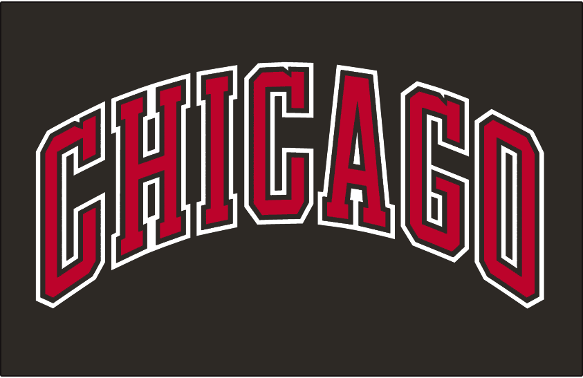 Chicago Bulls Logo Jersey Logo (1999/00-Pres) - Chicago in red and white arched letters on black, worn on the Chicago Bulls alternate jersey SportsLogos.Net