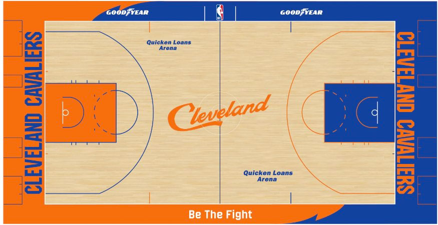 Cleveland Cavaliers Playing Surface Playing Surface (2018/19) - Cleveland Cavaliers blue and orange City Edition court SportsLogos.Net