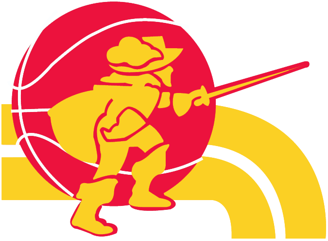 Cleveland Cavaliers Logo Alternate Logo (1974/75-1982/83) - A muskateer on a basketball with his sword drawn and yellow streaks SportsLogos.Net