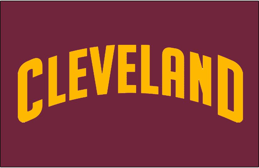 Cleveland Cavaliers Logo Jersey Logo (2010/11-2016/17) - CLEVELAND arched in yellow, worn on Cavaliers road uniform SportsLogos.Net