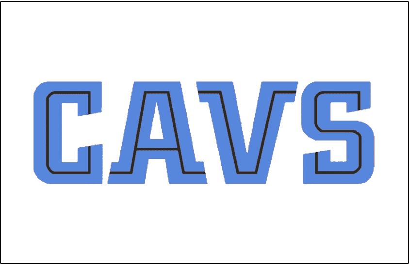 Cleveland Cavaliers Logo Jersey Logo (1999/00-2002/03) - CAVS in blue and black split lettering, worn on Cavs home jersey SportsLogos.Net