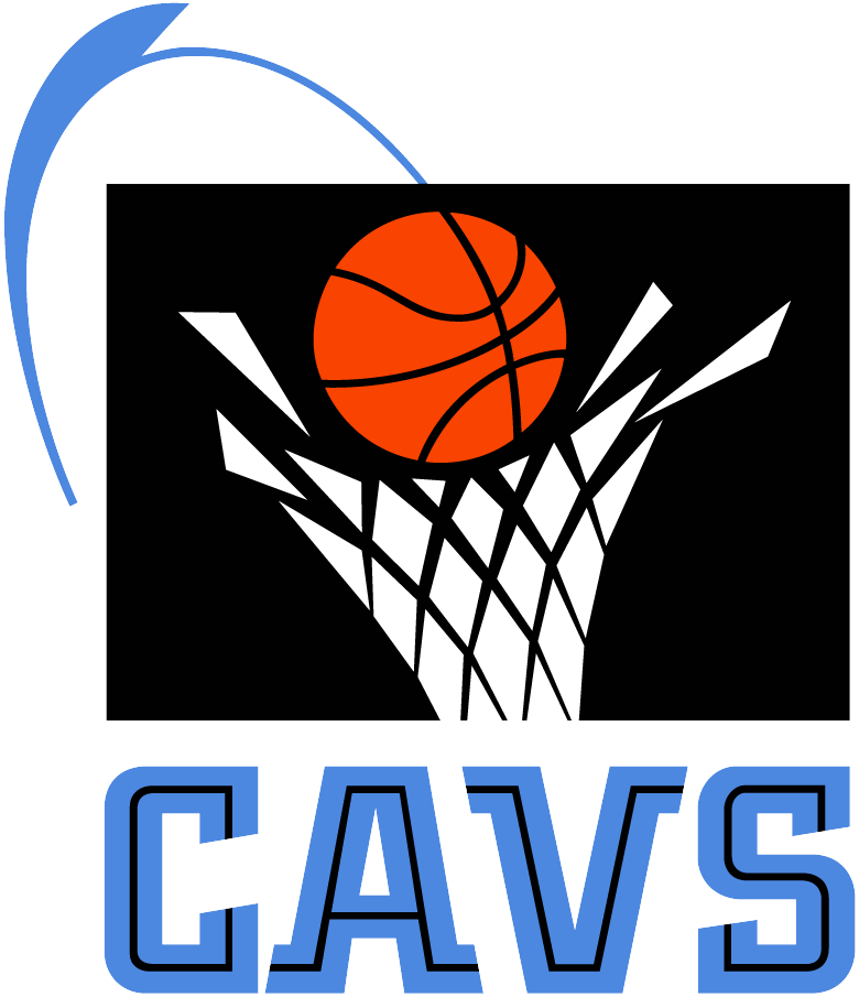 Cleveland Cavaliers Logo Primary Logo (1994/95-2002/03) - Basketball going through a net on a black box with Cavs in blue SportsLogos.Net