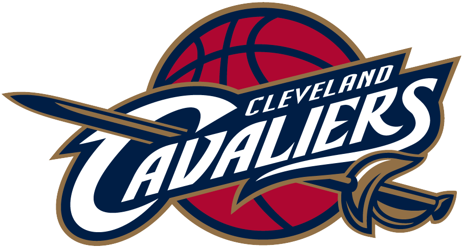 Cleveland Cavaliers Logo Primary Logo (2003/04-2009/10) - Cavaliers in white on blue on a red basketball with a sword SportsLogos.Net