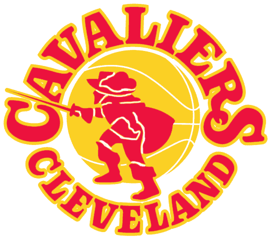 Cleveland Cavaliers Logo Primary Logo (1970/71-1982/83) - A gold muskateer on a red basketball with his sword drawn with team name SportsLogos.Net