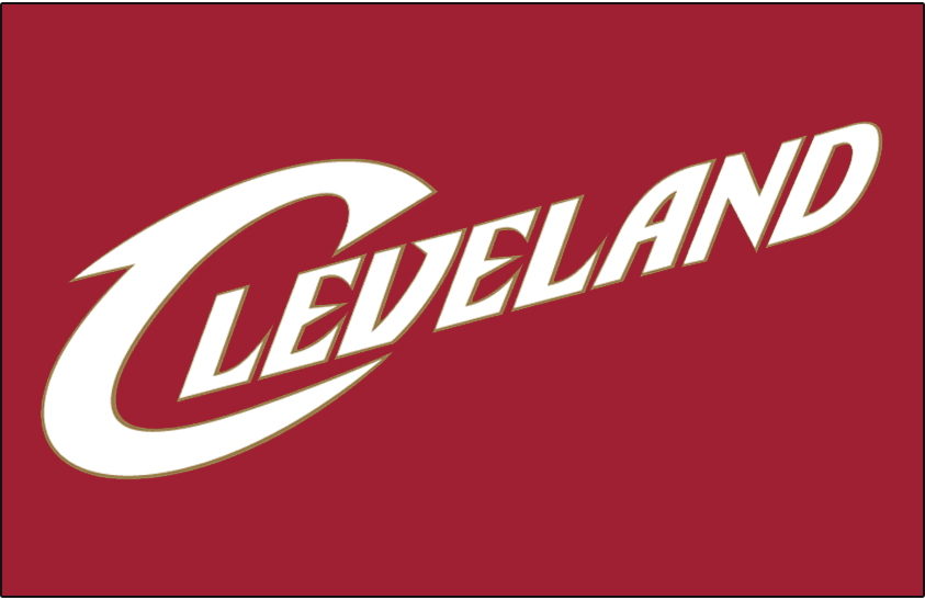 Cleveland Cavaliers Logo Jersey Logo (2003/04-2009/10) - Cleveland in white outlined in gold on red, worn on the Cleveland Cavaliers road jersey SportsLogos.Net