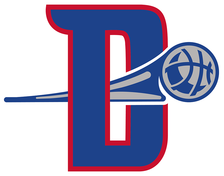 Detroit Pistons Logo Alternate Logo (2017/18-Pres) - This Detroit Pistons alternate logo shows the letter D in blue with red trim with a silver and blue basketball flying through the counter of the D, this logo was first used in the 2017-2018 NBA season SportsLogos.Net