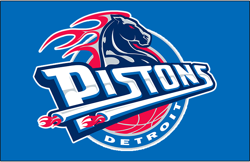 Detroit Pistons Logo Primary Dark Logo (2001/02-2004/05) - Detroit Pistons logo on blue SportsLogos.Net
