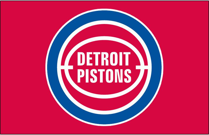 Detroit Pistons Logo Primary Dark Logo (1979/80-1995/96) - Detroit Pistons logo on red SportsLogos.Net