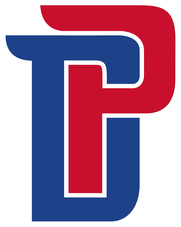 Detroit Pistons Logo Alternate Logo (2017/18-Pres) - This Detroit Pistons alternate logo shows the team's initials of D and P interlocked in blue and red. This logo was first used by the Pistons during the 2017-18 NBA season SportsLogos.Net