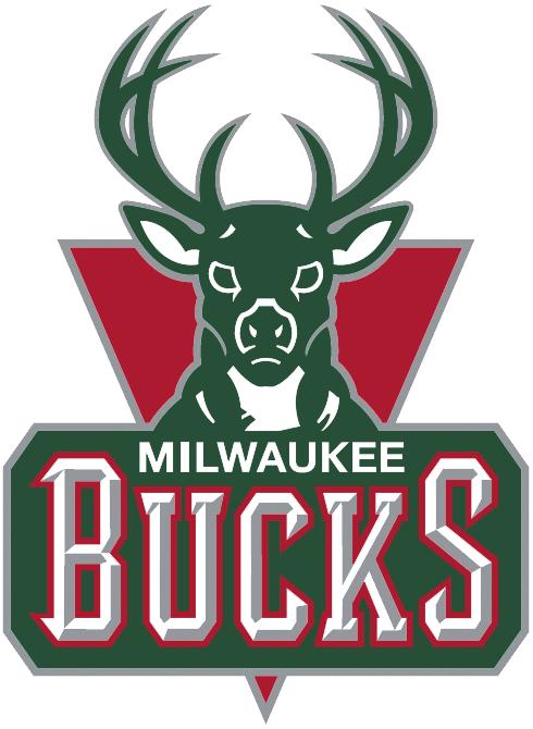 Milwaukee Bucks Logo Primary Logo (2006/07-2014/15) - A green buck head above script on a red triangle SportsLogos.Net