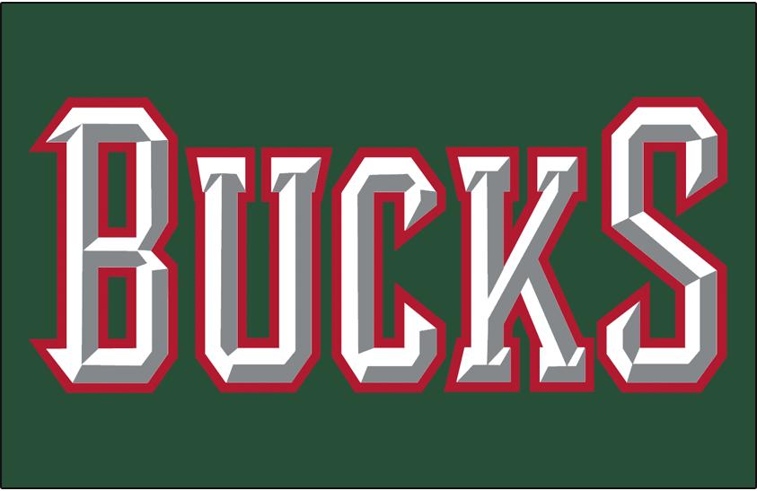 Milwaukee Bucks Logo Jersey Logo (2006/07-2014/15) - Bucks in white outlined in red on green, worn on Milwaukee Bucks road jersey SportsLogos.Net