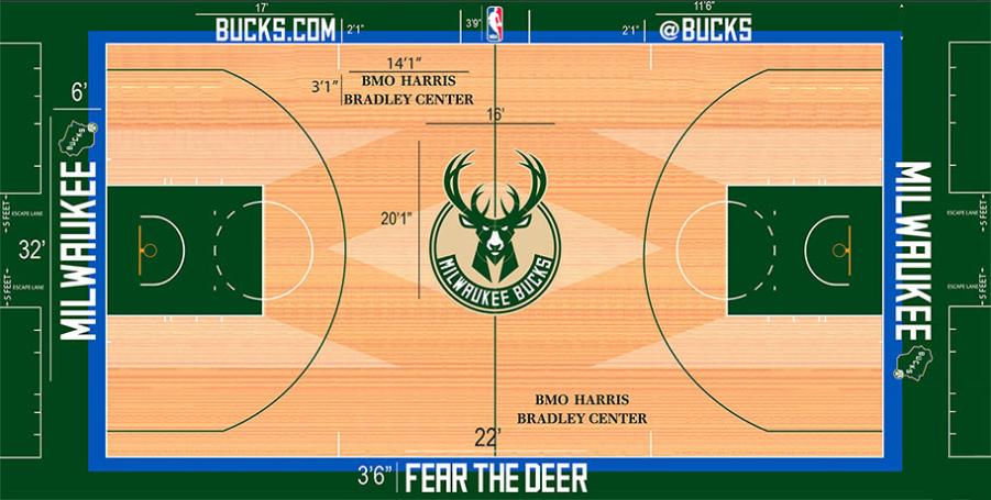 Milwaukee Bucks Playing Surface Playing Surface (2015/16-Pres) -  SportsLogos.Net