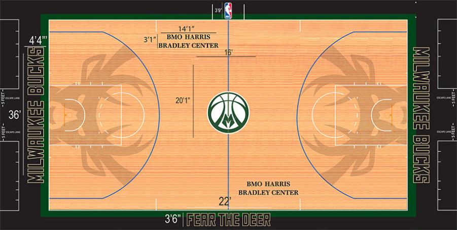 Milwaukee Bucks Playing Surface Playing Surface (2015/16-Pres) - Alternate court SportsLogos.Net