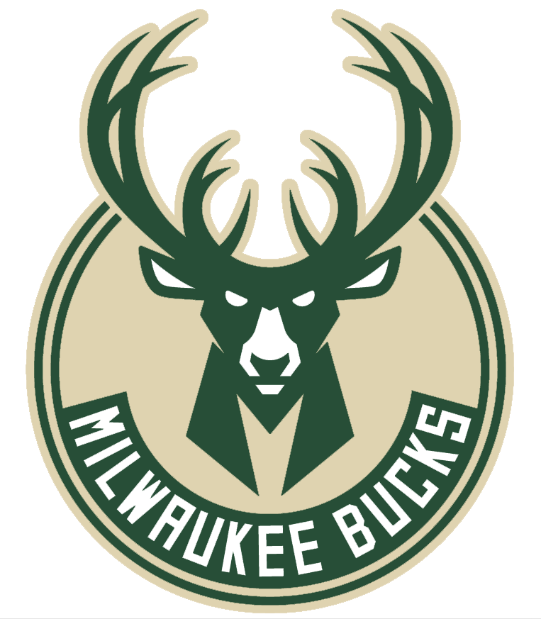 Milwaukee Bucks Logo Primary Logo (2015/16-Pres) - Green buck head in a cream circle, antlers form a basketball shape just above head. M shape in neck SportsLogos.Net