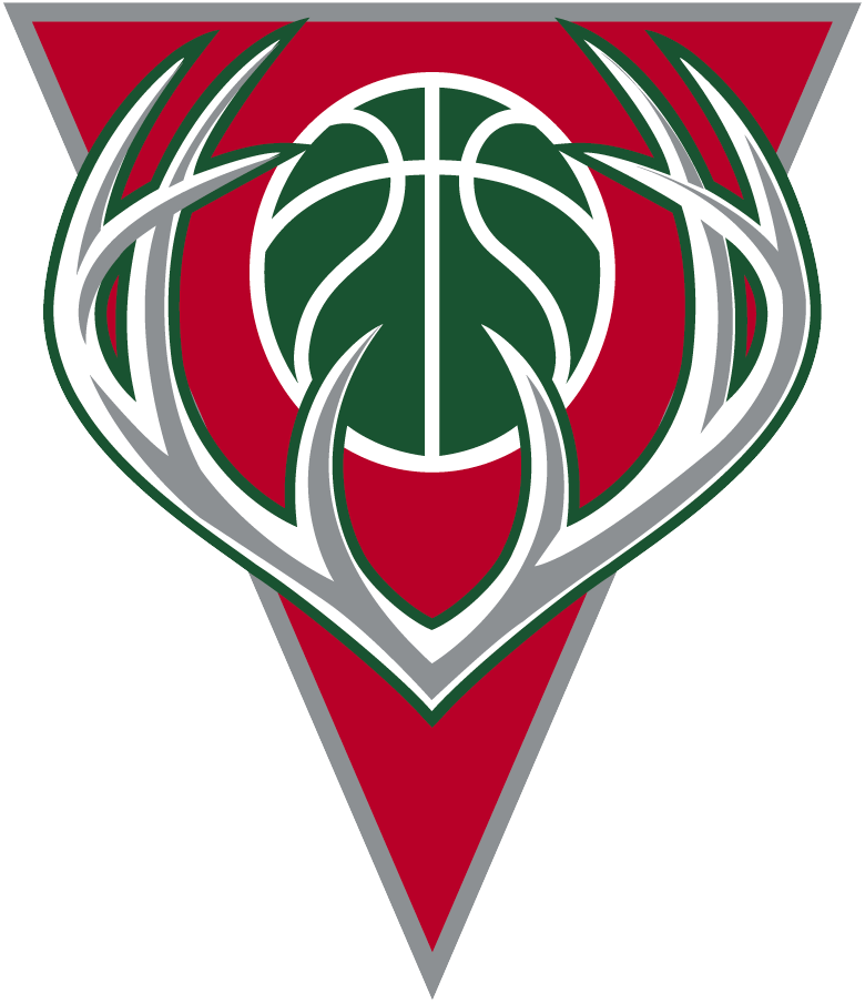 Milwaukee Bucks Logo Alternate Logo (2006/07-2014/15) - Silver antlers with a green basketball on a red triangle SportsLogos.Net