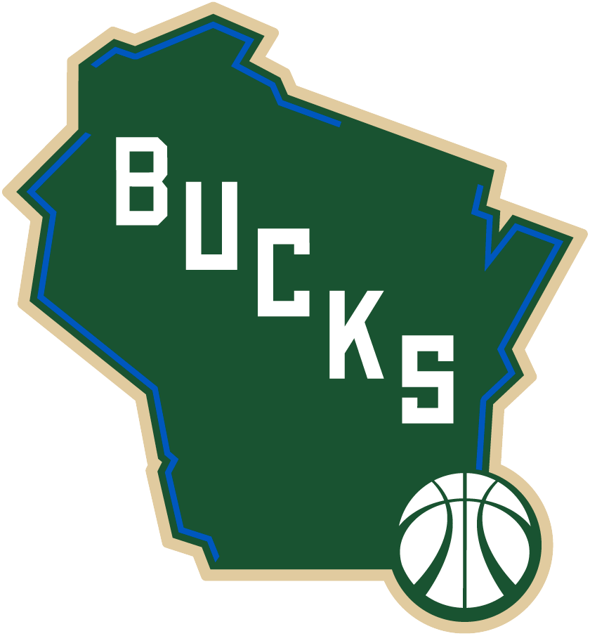Milwaukee Bucks Logo Alternate Logo (2015/16-Pres) - A map of the State of Wisconsin in green with cream trim, blue lines highlight the location of lakes and river borders. BUCKS running diagonally down with a basketball placed on the City of Milwaukee SportsLogos.Net