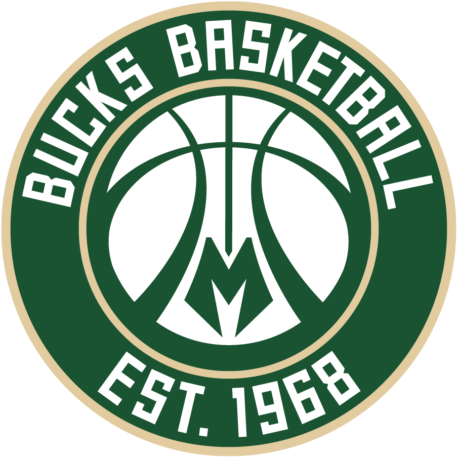 Milwaukee Bucks Logo Alternate Logo (2015/16-Pres) - A basketball with antler-style shape in the seams, stylized M at the bottom, inside a green and cream roundel with team name and establishment year SportsLogos.Net