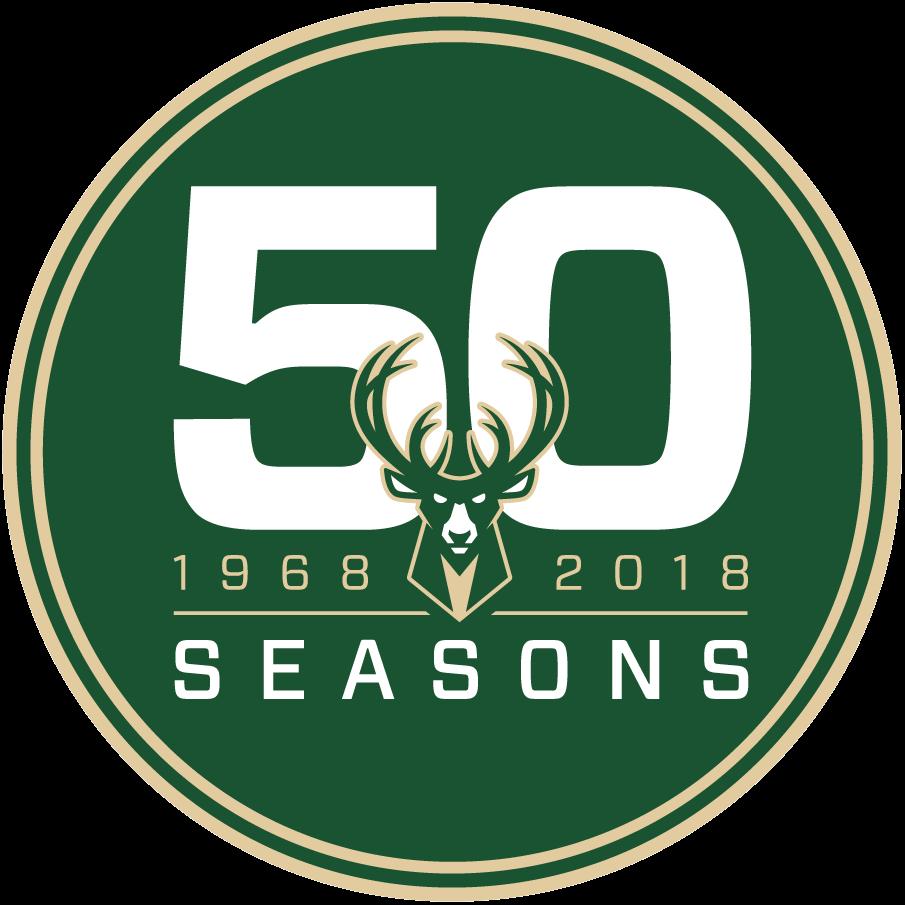 Milwaukee Bucks Logo Anniversary Logo (2017/18) - Milwaukee Bucks 50th season anniversary logo used in 2018 SportsLogos.Net