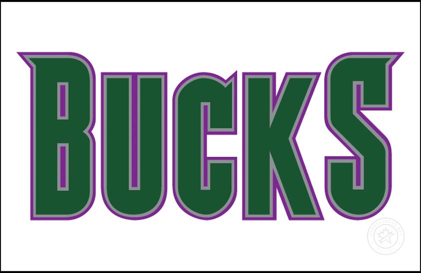 Milwaukee Bucks Logo Jersey Logo (1994/95-2005/06) - BUCKS in purple with silver and green trim, worn on the Milwaukee Bucks home white jerseys from 1995 to 2006 SportsLogos.Net