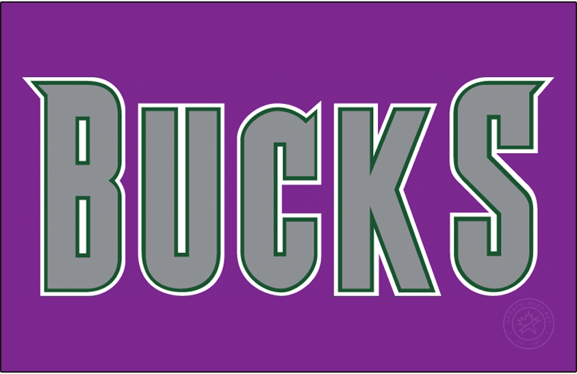 Milwaukee Bucks Logo Jersey Logo (2001/02-2005/06) - BUCKS in silver, worn on the Milwaukee Bucks road purple jerseys from 2002 to 2006 SportsLogos.Net