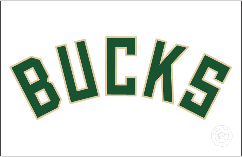 Milwaukee Bucks Logo Jersey Logo (2015/16-Pres) - BUCKS arched in green with cream trim on white, worn on Milwaukee Bucks home jersey starting in 2015-16 SportsLogos.Net