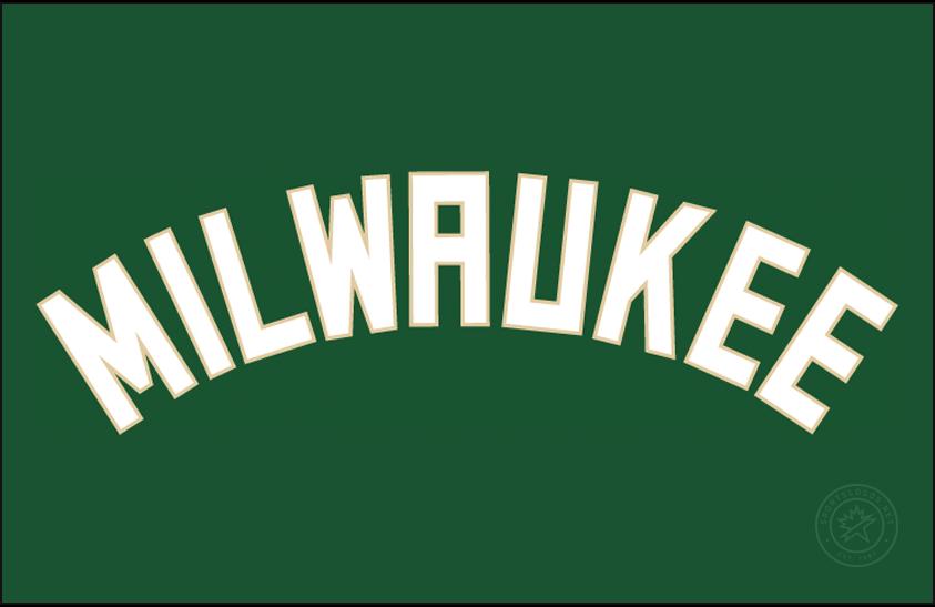 Milwaukee Bucks Logo Jersey Logo (2015/16-Pres) - MILWAUKEE arched in white with cream trim on white, worn on Milwaukee Bucks road green jersey starting in 2015-16 SportsLogos.Net