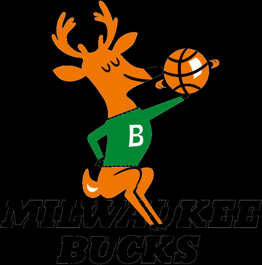 Milwaukee Bucks Logo Primary Logo (1968/69-1992/93) - A Buck spinning a basketball sitting on team name SportsLogos.Net
