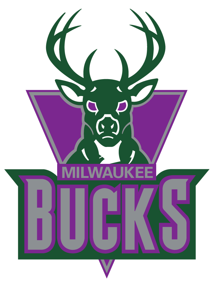 Milwaukee Bucks Logo Primary Logo (1993/94-2005/06) - A green buck head above script on a purple triangle SportsLogos.Net