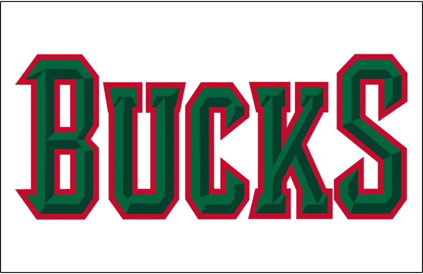 Milwaukee Bucks Logo Jersey Logo (2006/07-2014/15) - Bucks in green outlined in red, worn on Milwaukee Bucks home jersey SportsLogos.Net