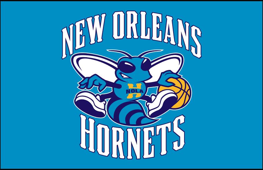 New Orleans Hornets Logo Primary Dark Logo (2008/09-2012/13) - New Orleans Hornets primary logo on teal SportsLogos.Net