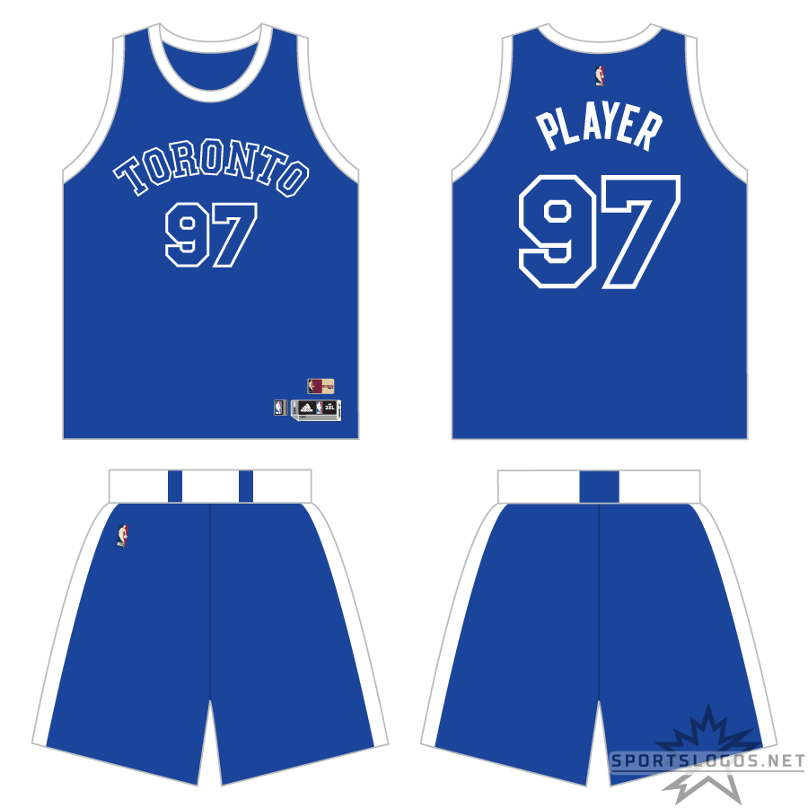 Toronto Raptors Uniform Throwback Uniform (2016/17) - Periodically throughout the 2016-17 NBA season, the Toronto Raptors wore blue and white uniforms based off those worn originally by the 1946-47 Toronto Huskies of the Basketball Association of America. The uniform featured a TORONTO wordmark arched across the jersey in blue with white trim on a blue jersey, white stripes around the waist and down each side of the shorts. SportsLogos.Net