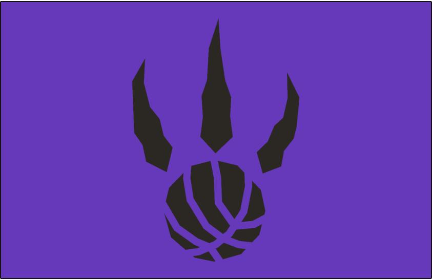 Toronto Raptors Logo Alt on Dark Logo (1995/96-2005/06) - Black basketball claw on purple SportsLogos.Net