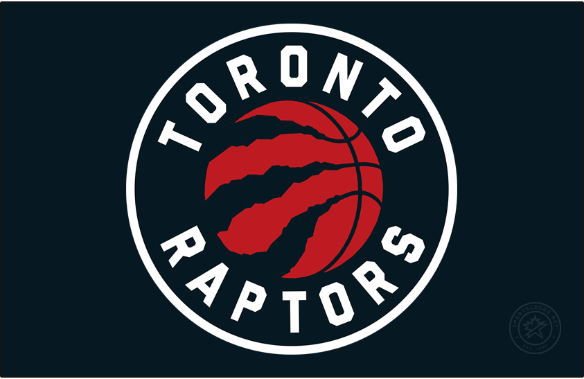 Toronto Raptors Logo Primary Dark Logo (2020/21-Pres) - For the 2020-2021 NBA season, the Toronto Raptors made some colour changes to their primary logo -- silver was eliminated completely from the colour scheme and the basketball was re-coloured red. A white border around the logo is only visible when presented on a dark background as it is here on black. SportsLogos.Net