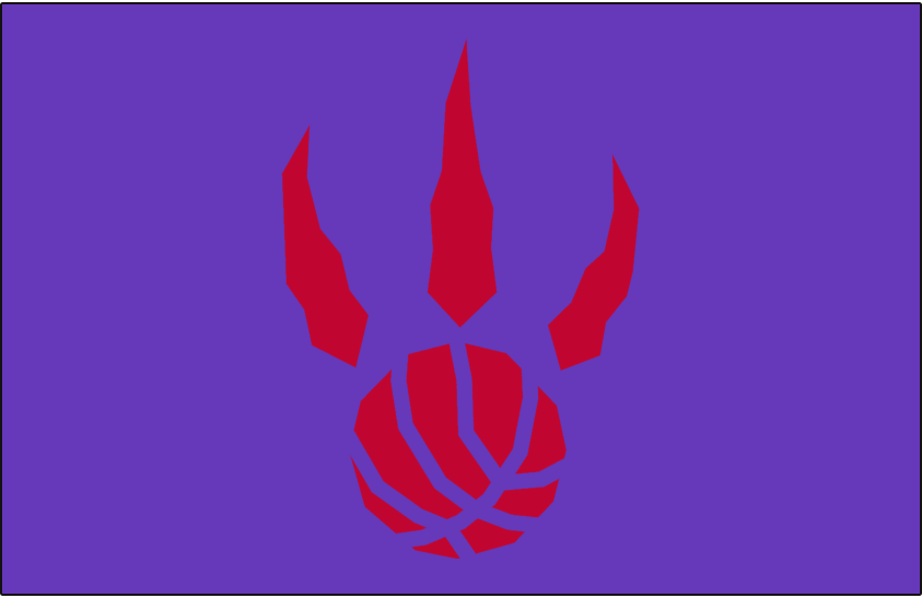 Toronto Raptors Logo Alt on Dark Logo (1995/96-2005/06) - Red basketball claw on purple SportsLogos.Net